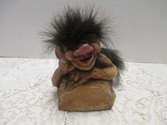 NYForm Troll Handmade Souvenir In Norway Troll With Tail Wood Carved Gnome Elf