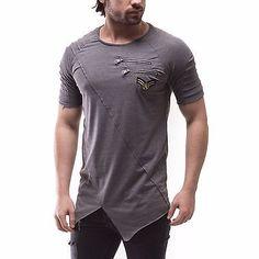 Corte Asimétrico Hombre Moda Camiseta Calce Entallado Cremallera en el pecho y detalles de rango 2830