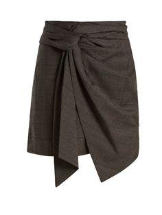ETOILE ISABEL MARANT NIMA KNOT-DETAIL CHECKED WOOL MINI SKIRT. #etoileisabelmarant #cloth #skirt