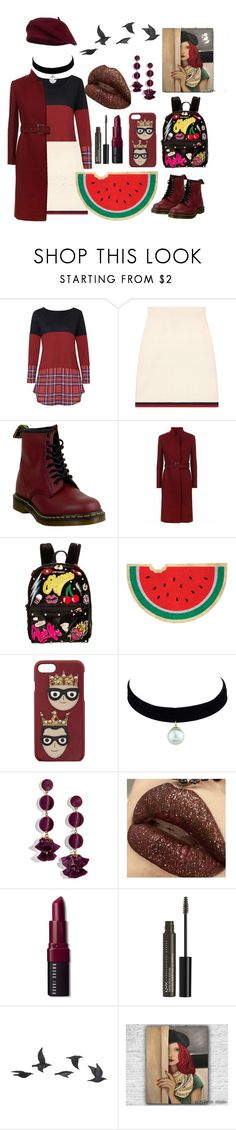 """""""35"""" by santyfebrina-nasution on Polyvore featuring Gucci, Dr. Martens, Betsey Johnson, Sunnylife, Dolce&Gabbana, BaubleBar, Bobbi Brown Cosmetics, NYX and Jayson Home"""