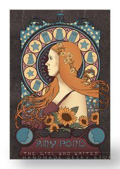 Art Nouveau Amy print / the Doctor by littlegeekeryshop on Etsy