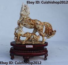 "10"" China Chinese Natural Jade Folk FengShui Zodiac Year 2 Horse Success Statue"
