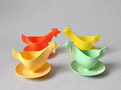 Vintage East Germany plastic egg cups holders in 60s 50s colors Mid Century Modern quirky kitchenware mint green yellow red entertaining hen on Etsy, $24.72
