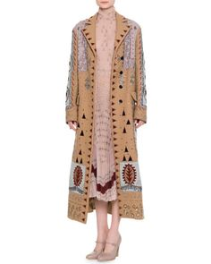 VALENTINO Embellished Long Wool Coat, Multi. #valentino #cloth #