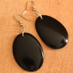Black as Ink Tagua Earrings | handmade organic green | dangling tagua