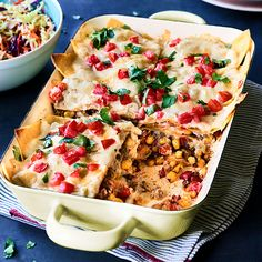 This veggie-packed beef enchilada casserole is mild, so put out hot sauce and chopped jalapeños if you're feeding heat-seekers. Enchilada Casserole Beef, Beef Enchiladas, Casserole Recipes, Casserole Dishes, Mexican Food Recipes, Ethnic Recipes, Drink Recipes, Mexican Dinners, Mexican Desserts
