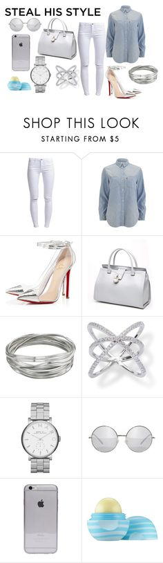 """he"" by severina185 ❤ liked on Polyvore featuring ONLY, Levi's, Christian Louboutin, Roberto Cavalli, Whistles, Marc by Marc Jacobs and Eos"