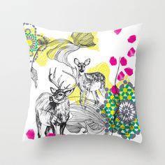 Deer+Essaouira+Throw+Pillow+by+Esther+Pallett+-+$20.00