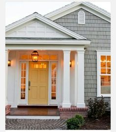 70 ideas exterior paint colors for house gray front porches porticos Yellow Front Doors, Painted Front Doors, Front Door Colors, Door Paint Colors, Exterior Paint Colors For House, Paint Colors For Home, Grey Exterior, Exterior Doors, Modern Exterior