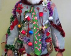 Hysterical Hillbilly 3-D Beer Can Tacky Ugly Christmas Sweater Mens Hodge Podge of Christmas Light up Red Solo Cup Lights, Big Bells XL