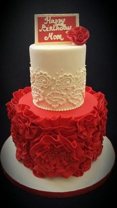 Red Rosette cake for that special lady in your life - mom, wife, girlfriend, or special occasion.