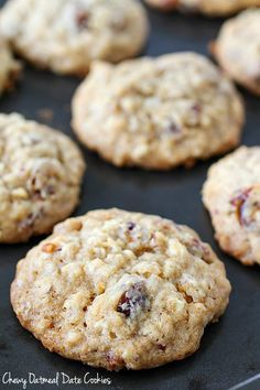 Oatmeal Date Cookies that are chewy and soft in the center but crispy on the edges! The perfect oatmeal cookie filled with chewy dates and crunchy pecans. You will love adding these to your holiday baking list! Cookie Desserts, Healthy Desserts, Cookie Recipes, Dessert Recipes, Candy Recipes, Healthy Baking, Dessert Ideas, Fall Recipes, Chocolate Chip Pudding Cookies