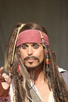 Captain Jack Sparrow, character in the pirate show at Disney World, Magic Kingdom