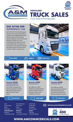 A&M Commercials specialises in buying and selling of new and used vehicles. With over 400 trucks and trailers in stock. Used Trucks, Used Cars, High Sleeper, Industrial Machinery, Heavy Truck, Sale Promotion, Digital Magazine, Commercial Vehicle, Trucks For Sale