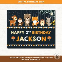 Woodland BIRTHDAY SIGN. Forest Chalkboard First Birthday Printable. Fox Birthday Decor. Backdrop. Decorations Woodland animal Poster