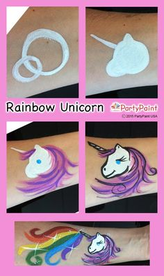 Great arm or cheek design. Rainbow Unicorn Step-by-Step Guide
