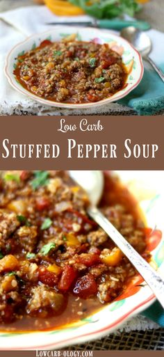 Easy stuffed Bell pepper soup recipe substitutes cauliflower for rice to keep it low carb and brings the net carbs way down but keeps all of the cozy flavor. It's a quick and easy dinner for a chilly day with the fresh taste of late summer produce! With just under 4 net carbs per hearty serving it's a delicious gluten free recipe you can enjoy often. via @Marye at Restless Chipotle