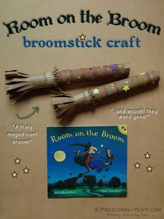 Let's make some truly magnificent broomsticks! This extension activity for the delightful book Room on the Broom is all kinds of fun. Paired with the story, this craft helps children to practice Pre K Activities, Halloween Activities For Kids, Halloween Books, Gruffalo Activities, Speech Activities, Paper Towel Crafts, Book Crafts, Fall Preschool, Preschool Crafts