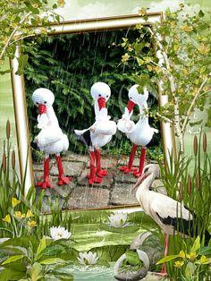 Ooievaars met een missie! 3 mooie meisjes op weg naar Belgie. Storks with a mission. 3 lovely girls on their way to Belgium. Amigurumi