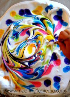 DIY Marbled Paper Using Shaving Cream http://meaningfulmama.com/2014/08/diy-marbled-paper-shaving-cream.html