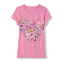 Girls Short Sleeve Emoji Heart Glitter Graphic Tee