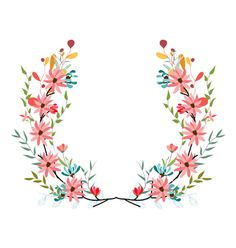 Banners floral frames and graphic elements vector art Frame Floral, Flower Frame, Flower Crown, Wreath Watercolor, Watercolor Flowers, Watercolor Art, Deco Tumblr, Art And Illustration, Illustrations