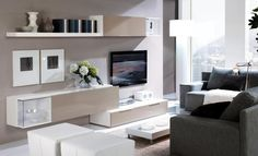 Beige and white wall and floor storage units with display features
