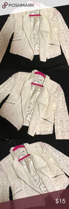 Forever 21 White Lace Jacket Size S Forever 21 White Lace Jacket Size S. Excellent condition - barely worn. Smoke free home. Beautiful lace piece. Forever 21 Jackets & Coats