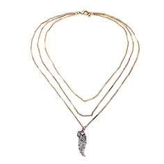 """Clo Clo London - Taavi. Three-layered necklace with washed-out wing embedded with mini faux pearls. Length: 54cm (21.3"""") Pendant length: 4cm (1.6"""")"""