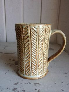 Yellow Salt Lines Stoneware Pottery Mug by by zotterthepotter, $40.00