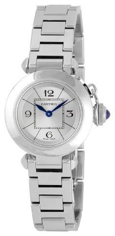 Cartier Women's W3140007 Miss Pasha Small Watch Cartier. Save 12 Off!. $2981.76. Stainless steel screw-in crown with a blue spinal cabochon. Fixed stainless steel bezel. Water-resistant to 99 feet (30 M). Stainless steel case and bracelet. Silvered opalined dial with arabic numerals