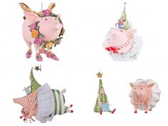 Patience Brewster Pig Ornaments - Assorted adorable pig themed ornaments and ceramic salt and pepper shaker set.  Available at SHOPBLUEHORSE.COM  #christmas #home #decor #holiday #pig #FlyingPig #xmas