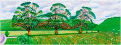 DAVID HOCKNEY: PAINTINGS  Three Trees Near Thixendale, Spring 2008       (Series of 4) oil on canvas, 8 panels, 72 x 192 in.