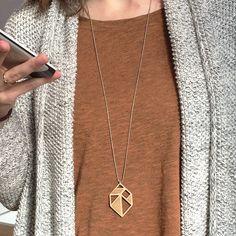 Tangram gem/diamant necklace ~ Laser cut from birch wood ~ Geometric pendant…