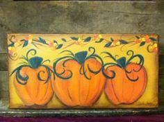 7x14 Original Acrylic Canvas Painting, PUMPKINS