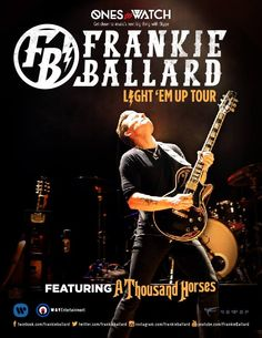 "NEWS: The country music artist, Frankie Ballard, has announced the ""Light 'Em Up Tour."" It will be his first headlining U.S. tour. Supporting Ballard on this tour will be, A Thousand Horses. Select dates will be co-headline shows with David Nail. You can check out the dates and details at http://digtb.us/1ra1w32"
