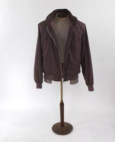 Vintage 1980s Men's Retro Tan Brown Street Moves Jacket Coat Men's Cotton Blazer Size Large Bomber Motorcycle Jacket Pilot Boho Hipster