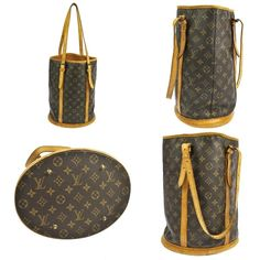 Pre-owned Louis Vuitton 100% Vintage Bucket Pm Shoulder Bag (€145) ❤ liked on Polyvore featuring bags, handbags, shoulder bags, monogram, white handbags, bucket shoulder bag, vintage metal purse, white purse and pre owned handbags