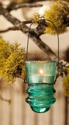 Repurpose Glass Light Insulator Lantern