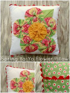 spring yoyo flower pillow pattern and tutorial| patchwork posse #yoyo #easysewingprojects