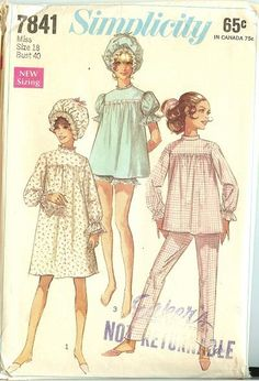 My sister and I wore babydoll pjs, a long, long time ago in a galaxy far, far away. Simplicity Sewing Patterns, Baby Patterns, Vintage Sewing Patterns, Baby Doll Pajamas, Baby Dolls, Toddler Pajamas, Pajamas Women, Pyjamas, Vintage Outfits