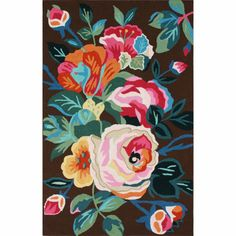 nuLOOM Handmade Floral Brown Rug - looks like a tattoo- kind of obsessed!