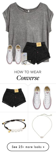 """let me love you.."" by arieannahicks on Polyvore featuring H&M, TOUS, Kendra Scott and Converse"