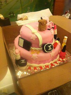 Shopaholic #girl #21st #birthday Cake #premium #pink #mumbai