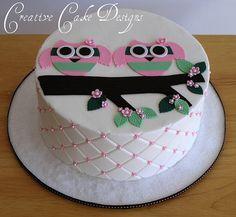 Baglyos iker torta lányoknak!, Twin Owl Baby Shower Cake by Creative Cake Designs (Christina), via Flickr baby-kid-stuff