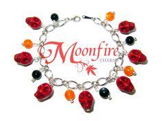 HALLOWEEN Red Skull Charm Bracelet