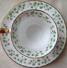 '1980 Royal Tara Teacup and Saucer Set, Shamrock Swirled' ... off to a new home!