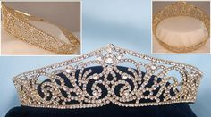 Russian Duchess Gold Bridal Queen Princess Marie Style Full rhinestone crown Beautiful Full round Crown made by Rhinestone and silver plated metal .very stunning & elegant ! this crown is the perfect