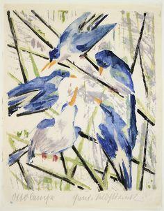 Otto LANGE (1879 – 1944): Blaue Vögel (Blue birds) Woodblock Print, Japanese Art, Blue Bird, Impressionism, Art Decor, Birds, Fine Art, Sculpture, Canvas
