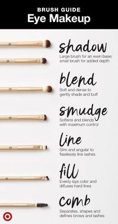 And Tested Skin Care Tips A guide for what eye brush to use when. Shop the Target-exclusive Sonia Kashuk Essential line.A guide for what eye brush to use when. Shop the Target-exclusive Sonia Kashuk Essential line. Makeup Brush Uses, Eye Makeup Brushes, Makeup Guide, Eye Makeup Tips, Makeup Tools, Skin Makeup, Makeup Tutorials, Makeup Ideas, Brushes For Eyeshadow